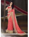 Festal Georgette Rose Pink Traditional Saree