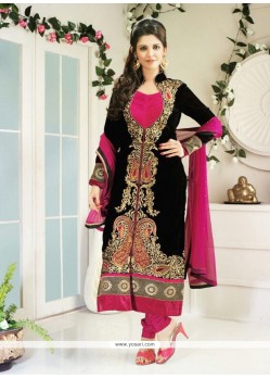 Breathtaking Black Velvet Churidar Suit