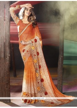 Monumental Orange Embroidered Work Classic Designer Saree
