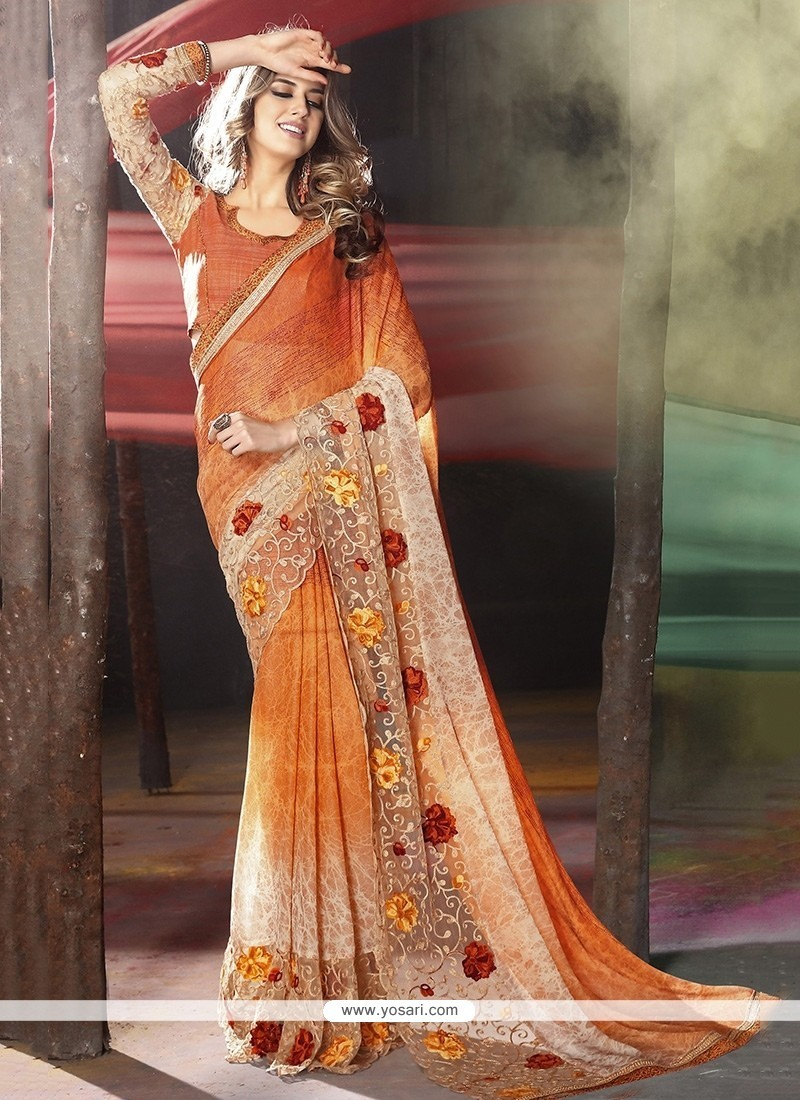 Monumental Orange Embroidered Work Classic Designer Saree