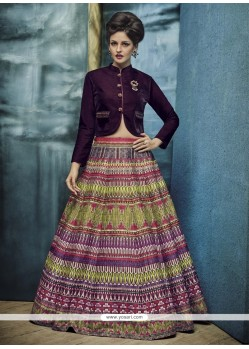 Patch Border Banglori Silk A Line Lehenga Choli In Multi Colour