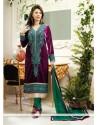 Astonishing Violet Velvet Churidar Suit