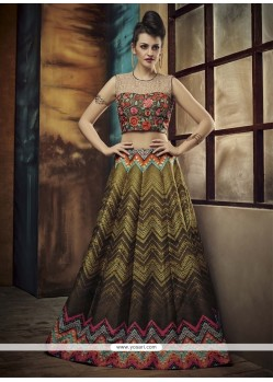 Snazzy Banglori Silk Multi Colour Embroidered Work A Line Lehenga Choli