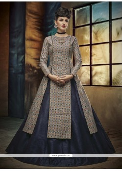 Exquisite Banglori Silk Navy Blue A Line Lehenga Choli