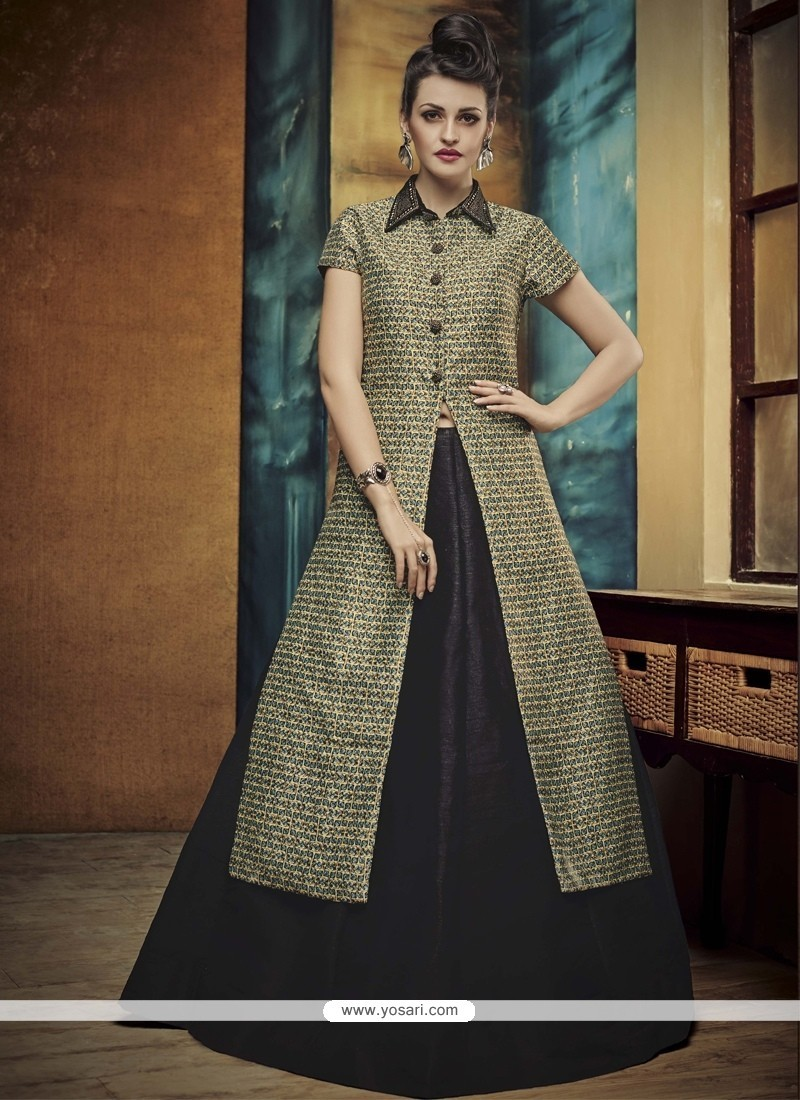 Opulent Banglori Silk Black A Line Lehenga Choli