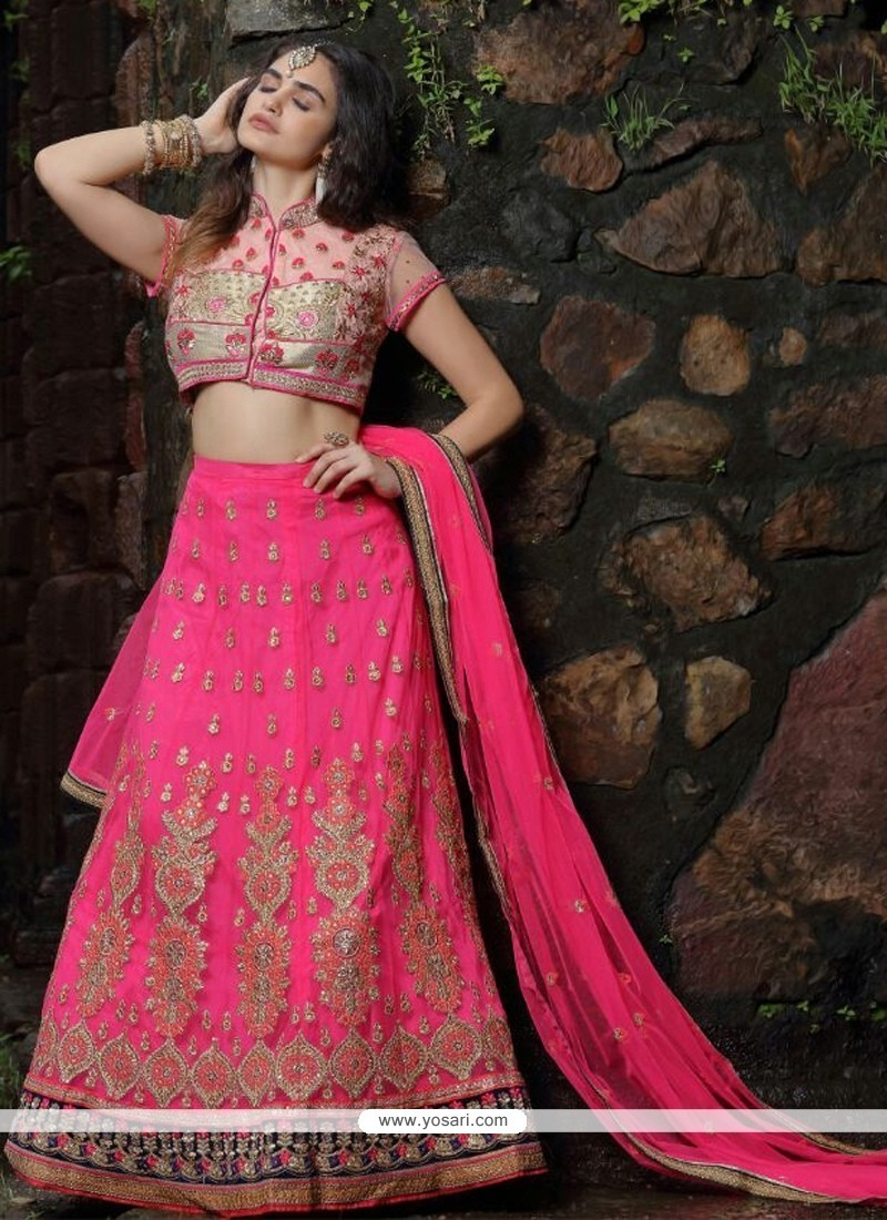 Especial Hot Pink Patch Border Work A Line Lehenga Choli