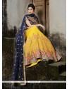Groovy Embroidered Work Yellow Net A Line Lehenga Choli