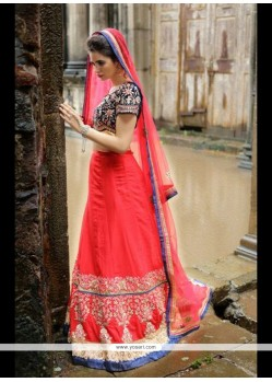 Entrancing Red Embroidered Work A Line Lehenga Choli