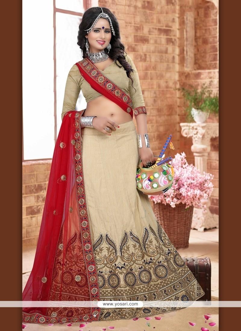 Vibrant Silk Resham Work A Line Lehenga Choli
