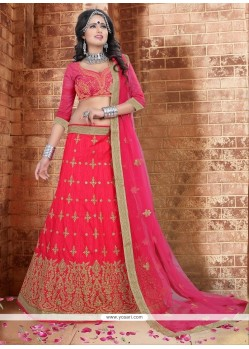 Dainty Silk Patch Border Work A Line Lehenga Choli