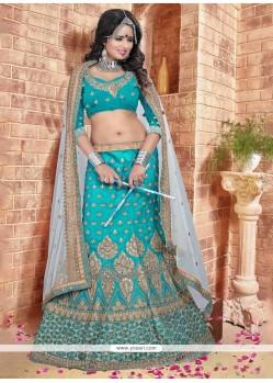 Magnetic Silk Turquoise A Line Lehenga Choli