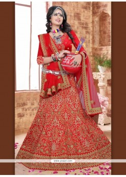Exciting Silk Patch Border Work A Line Lehenga Choli