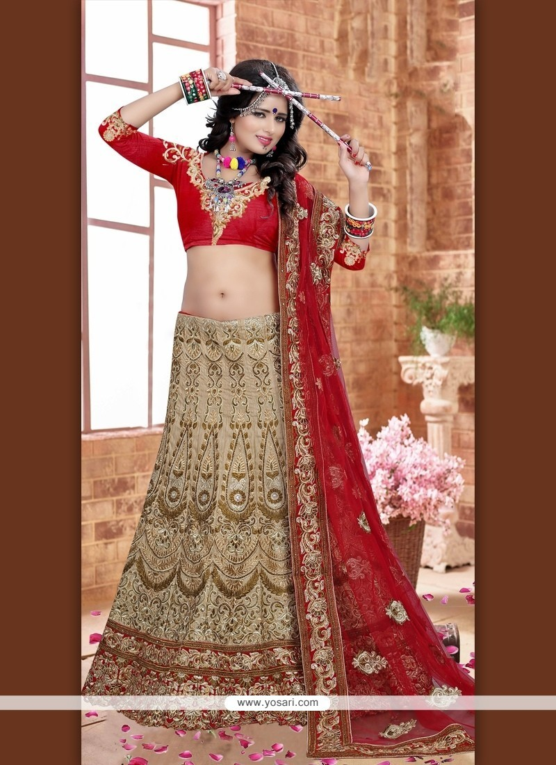 Angelic Beige And Red Resham Work A Line Lehenga Choli