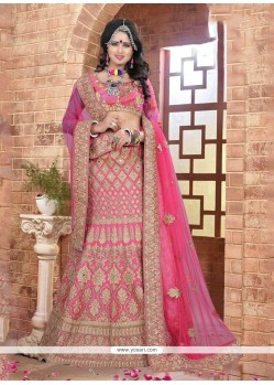 Monumental Embroidered Work Pink A Line Lehenga Choli