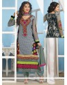 Delightful Grey Georgette Churidar Suit