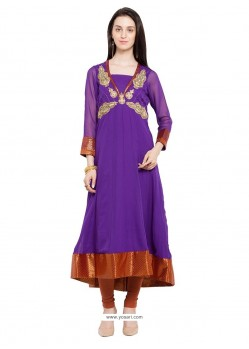 Conspicuous Lace Work Purple Georgette Party Wear Kurti