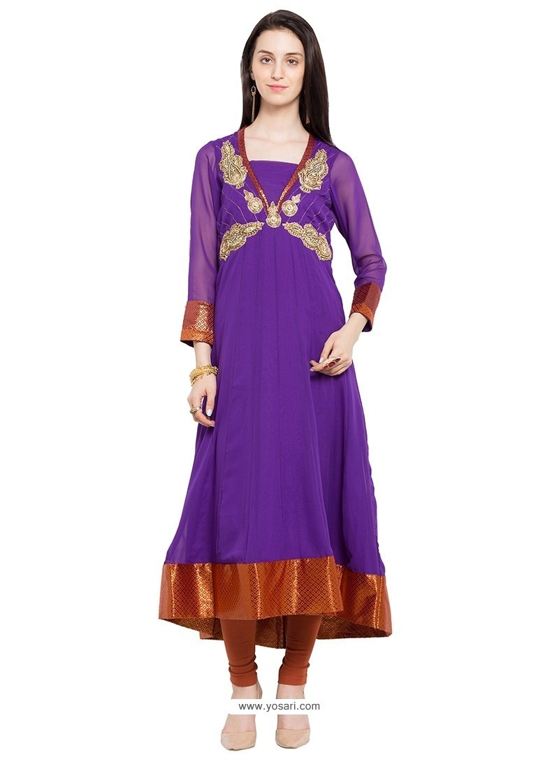 Buy Conspicuous Lace Work Purple Georgette Party Wear Kurti | Party ...