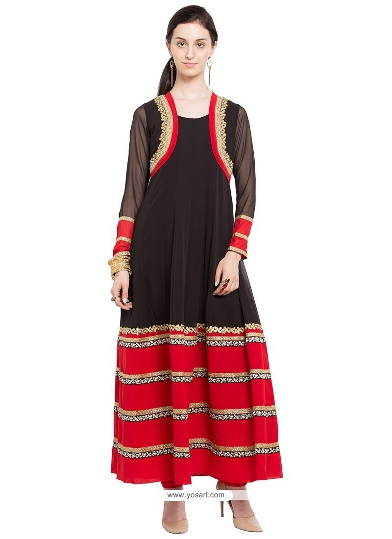 Customary Black Lace Work Party Wear Kurti