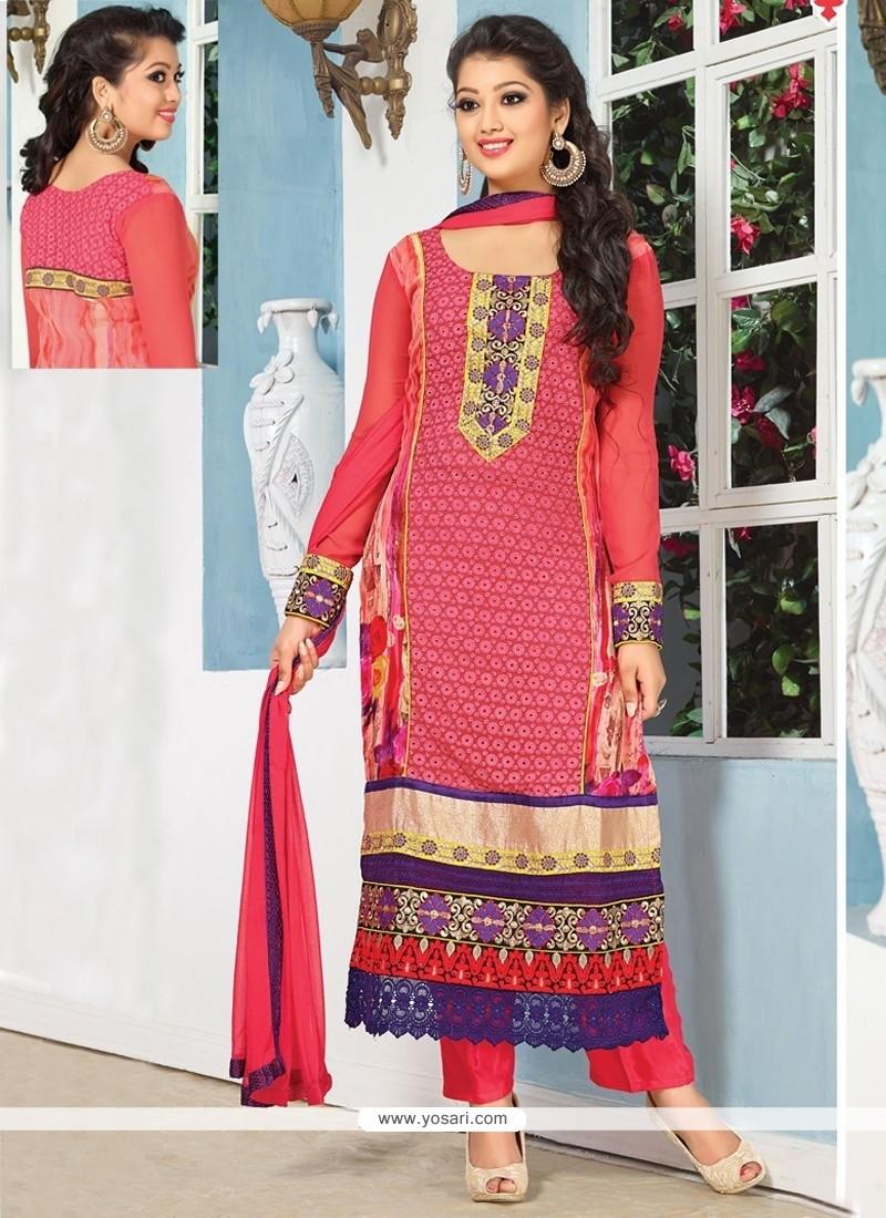 Captivating Pink Georgette Churidar Salwar Kameez