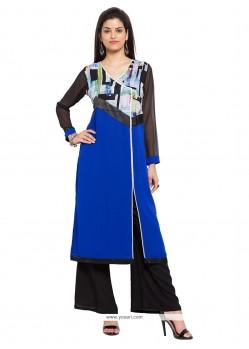 Energetic Blue Print Work Party Wear Kurti