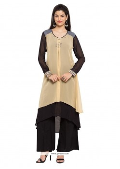 Thrilling Beads Work Beige Georgette Party Wear Kurti