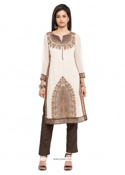 Perfect Beige Print Work Party Wear Kurti