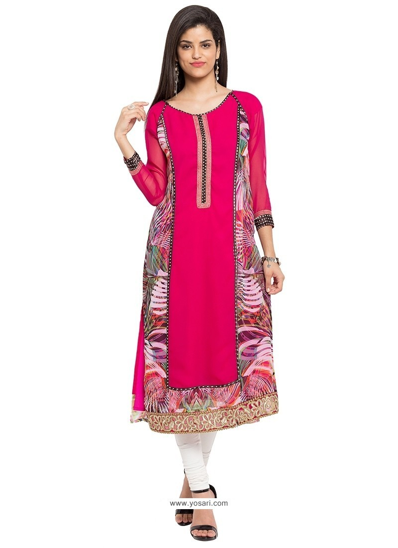 Capricious Print Work Hot Pink Georgette Party Wear Kurti