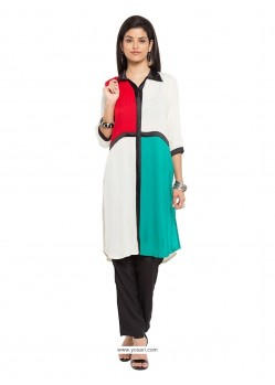 Chic Print Work Cotton Party Wear Kurti