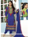 Blue And Green Georgette Churidar Suit