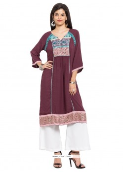Elegant Print Work Party Wear Kurti