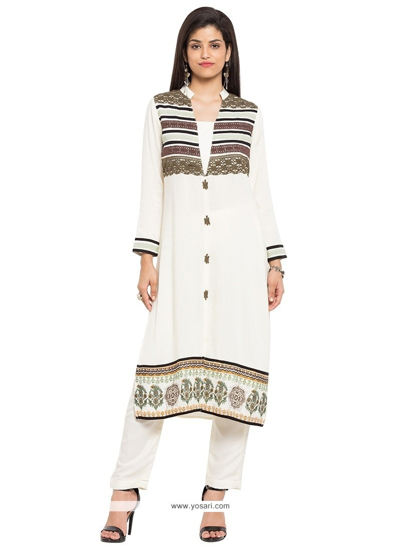 Surpassing Off White Print Work Cotton Party Wear Kurti