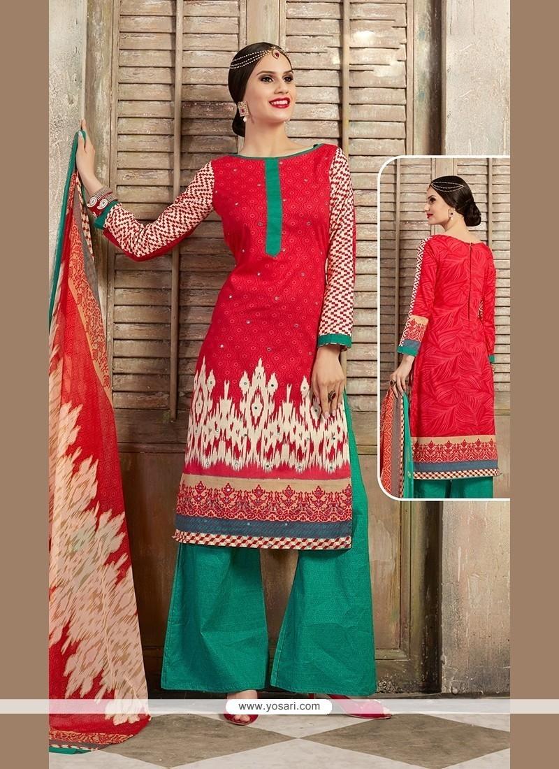 Girlish Red Designer Palazzo Salwar Kameez