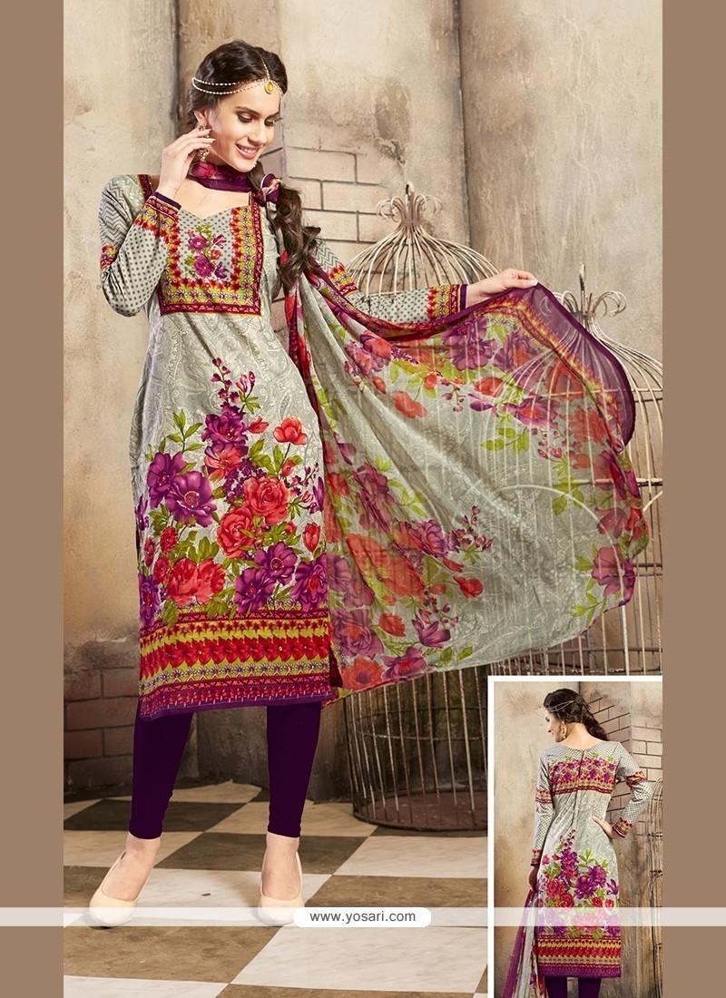 Vivacious Cotton Multi Colour Print Work Churidar Designer Suit