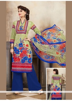 Glamorous Print Work Cotton Multi Colour Designer Palazzo Salwar Kameez