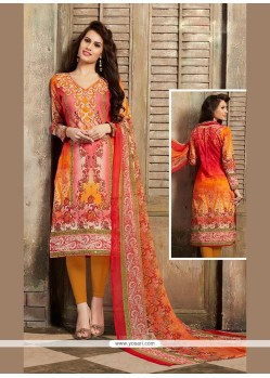 Piquant Orange Churidar Designer Suit