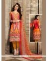 Piquant Orange Churidar Designer Suit