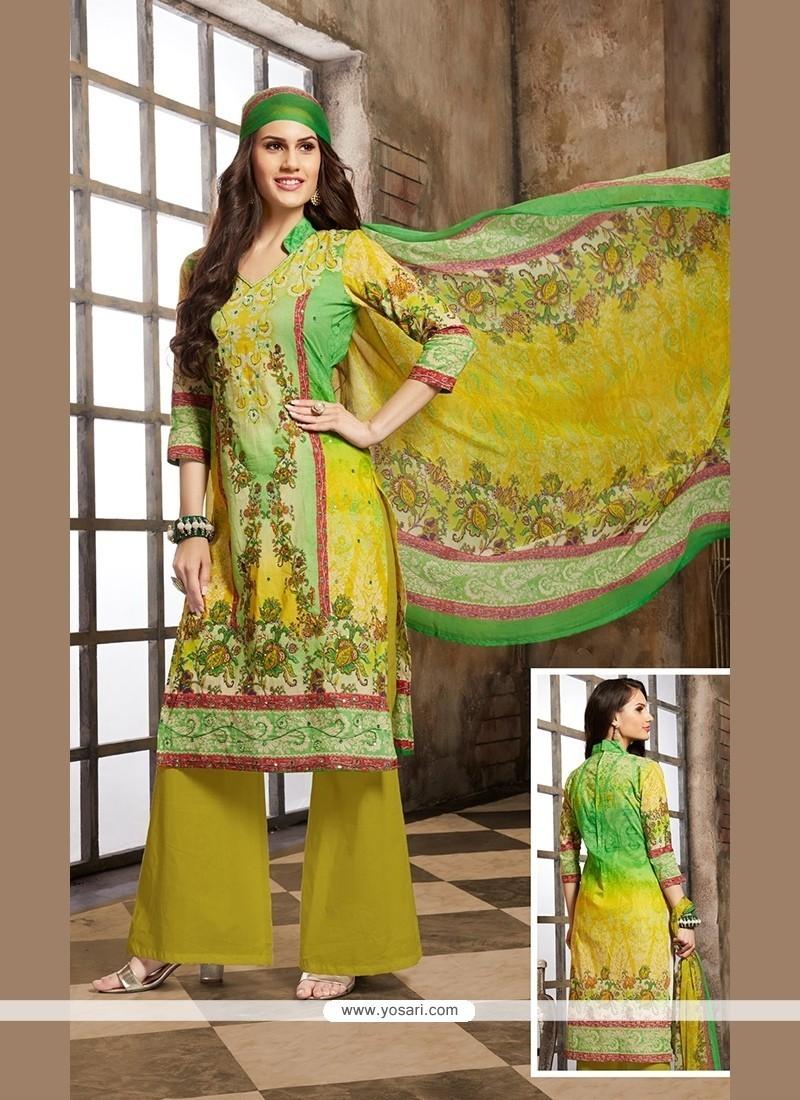 Intriguing Yellow Print Work Designer Palazzo Salwar Kameez