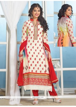 Dazzling Off White Georgette Churidar Suit