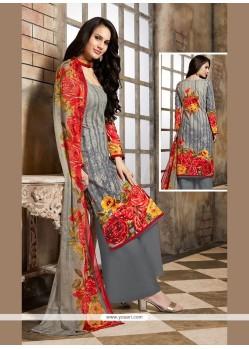Pretty Cotton Grey Designer Palazzo Salwar Kameez
