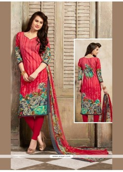 Hypnotic Print Work Cotton Red Churidar Designer Suit