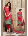 Hypnotic Print Work Cotton Red Churidar Designer Suit