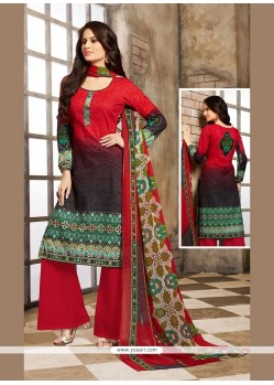 Fine Cotton Red Print Work Designer Palazzo Salwar Kameez