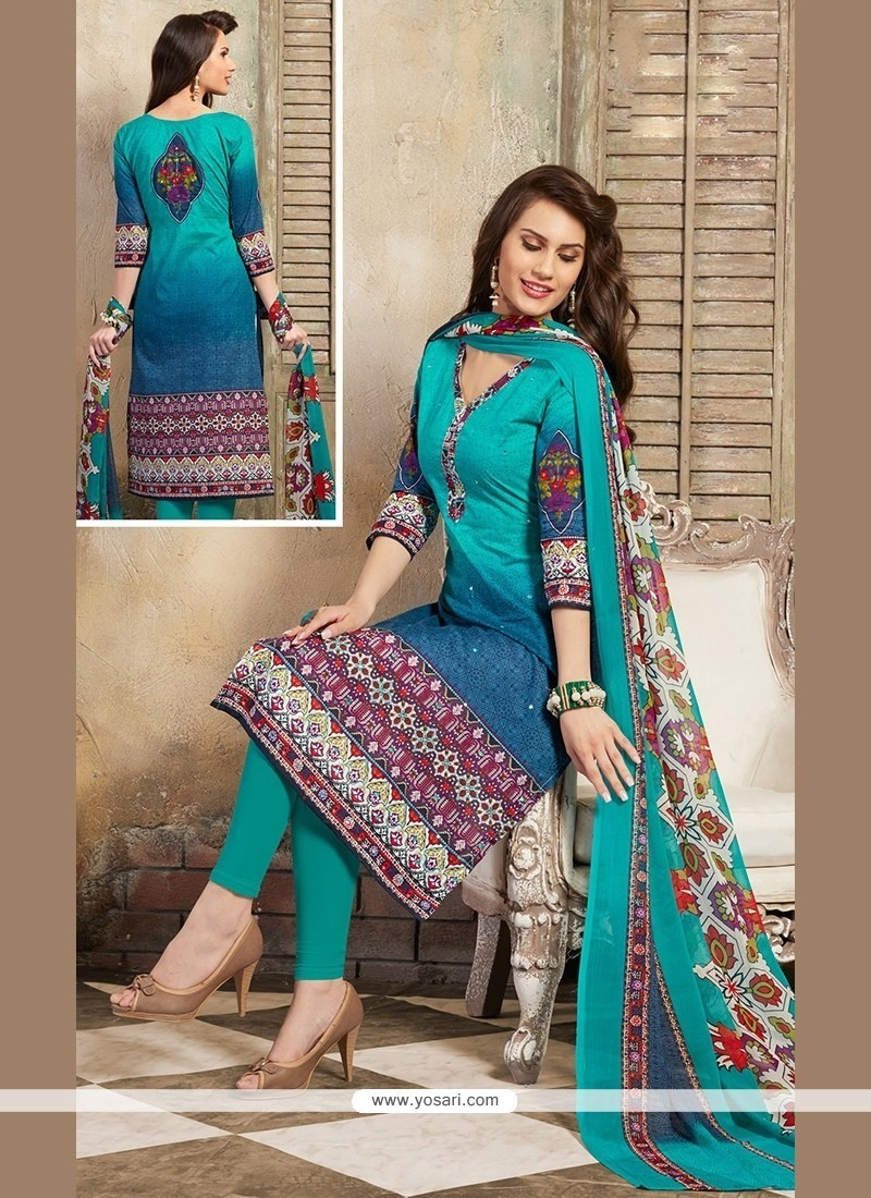 Hypnotic Cotton Print Work Churidar Designer Suit