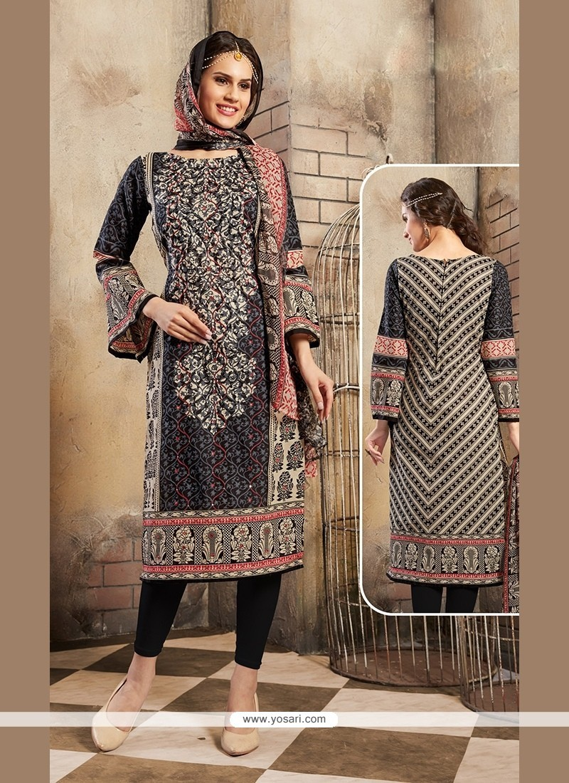 Capricious Print Work Black Cotton Churidar Designer Suit