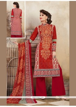 Flattering Print Work Cotton Multi Colour Designer Palazzo Salwar Kameez