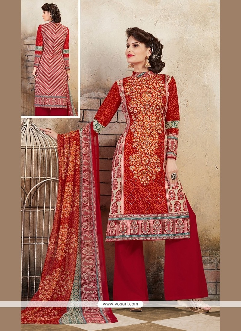 a53915bb71f Flattering Print Work Cotton Multi Colour Designer Palazzo Salwar Kameez