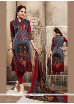 Conspicuous Print Work Cotton Multi Colour Churidar Designer Suit