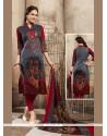 Conspicuous Print Work Cotton Multi Colour Churidar Designer Suit