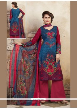 Distinguishable Cotton Multi Colour Print Work Designer Palazzo Salwar Kameez
