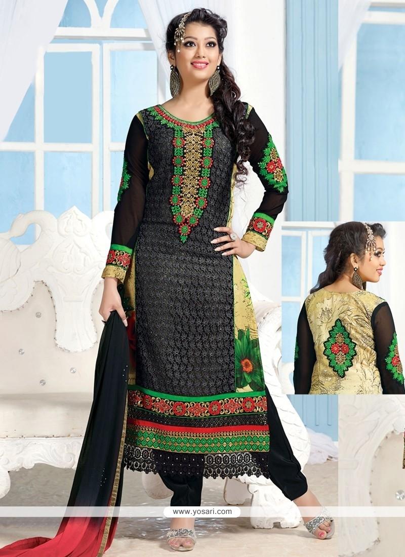 Black And Cream Georgette Churidar Suit